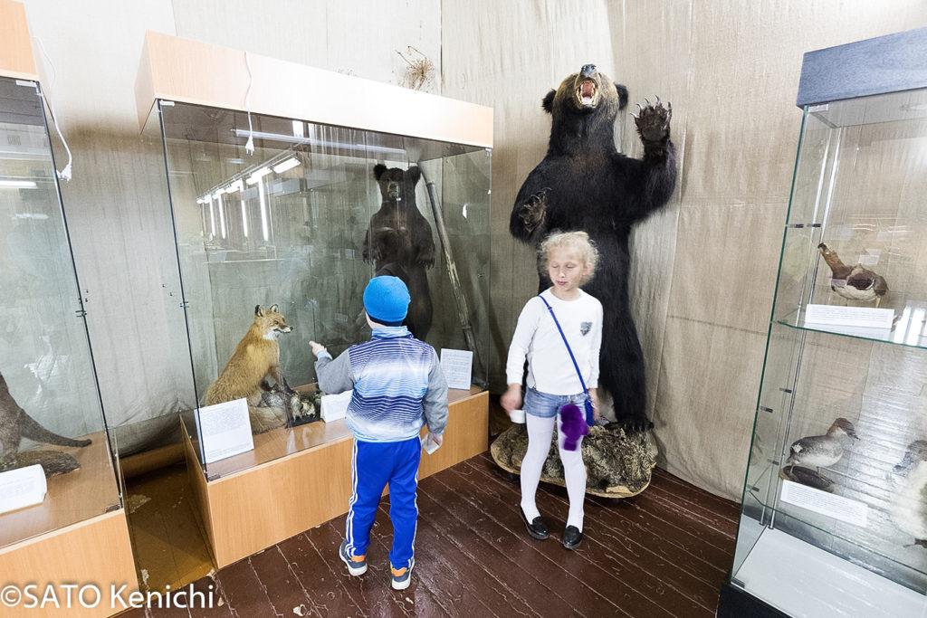 254 クマのはく製と対面する子供たち(ノグリキ)